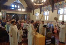 Celebración de la Gran Fiesta de la Epifanía año 2019 en la parroquia de San Nicolás de Serbia Serbio, Santiago, Chile