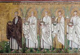 22.4.2010: Martin, Clement, Sixtus, Lawrence, Hippolytus, south wall, Sant'Apollinare Nuovo, Ravenna